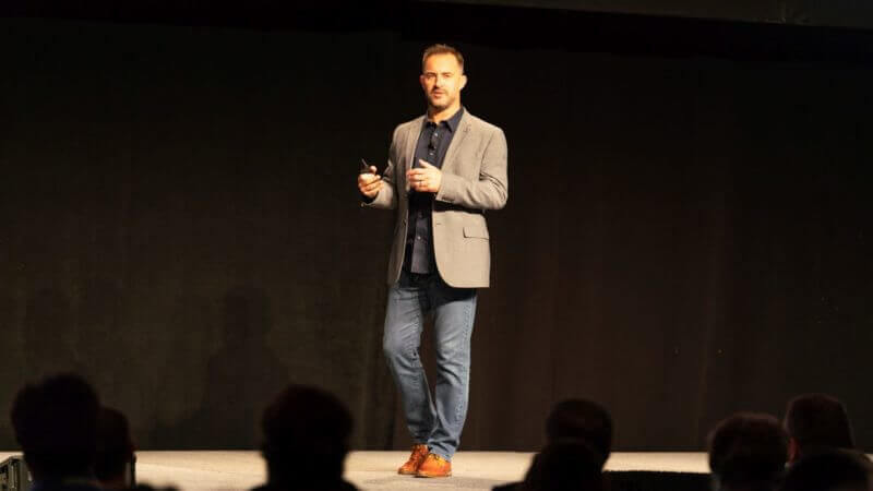 Alistair Croll speaking at Martech Conference East 2018.