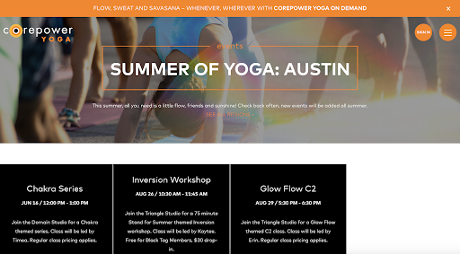 Core Power Yoga Events