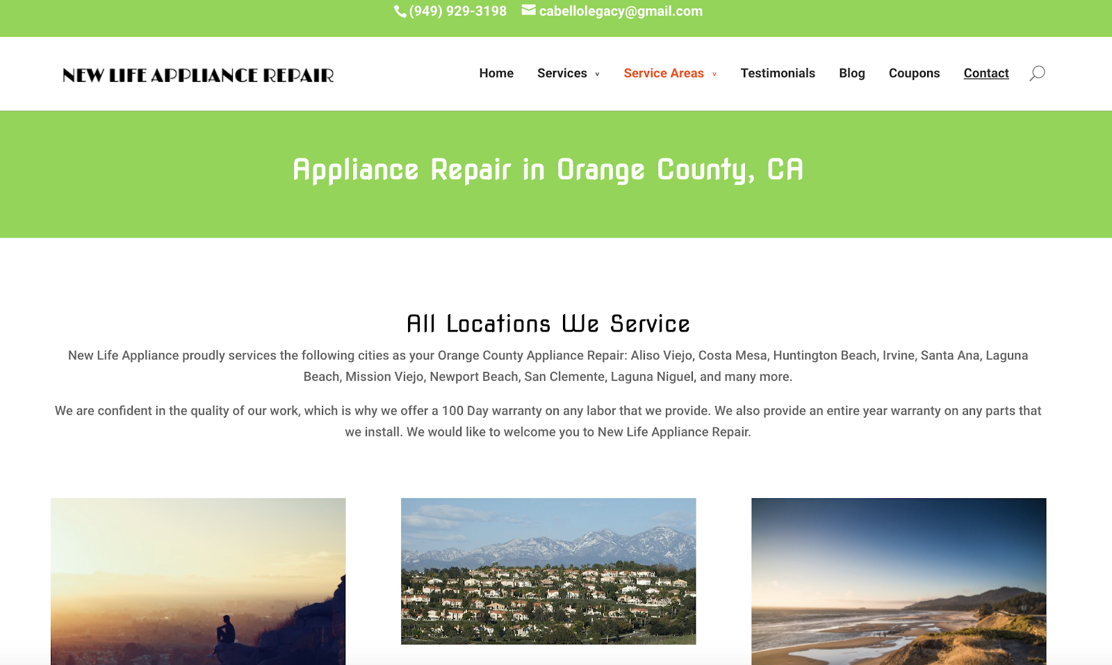 New Life Appliance Repair Location Page