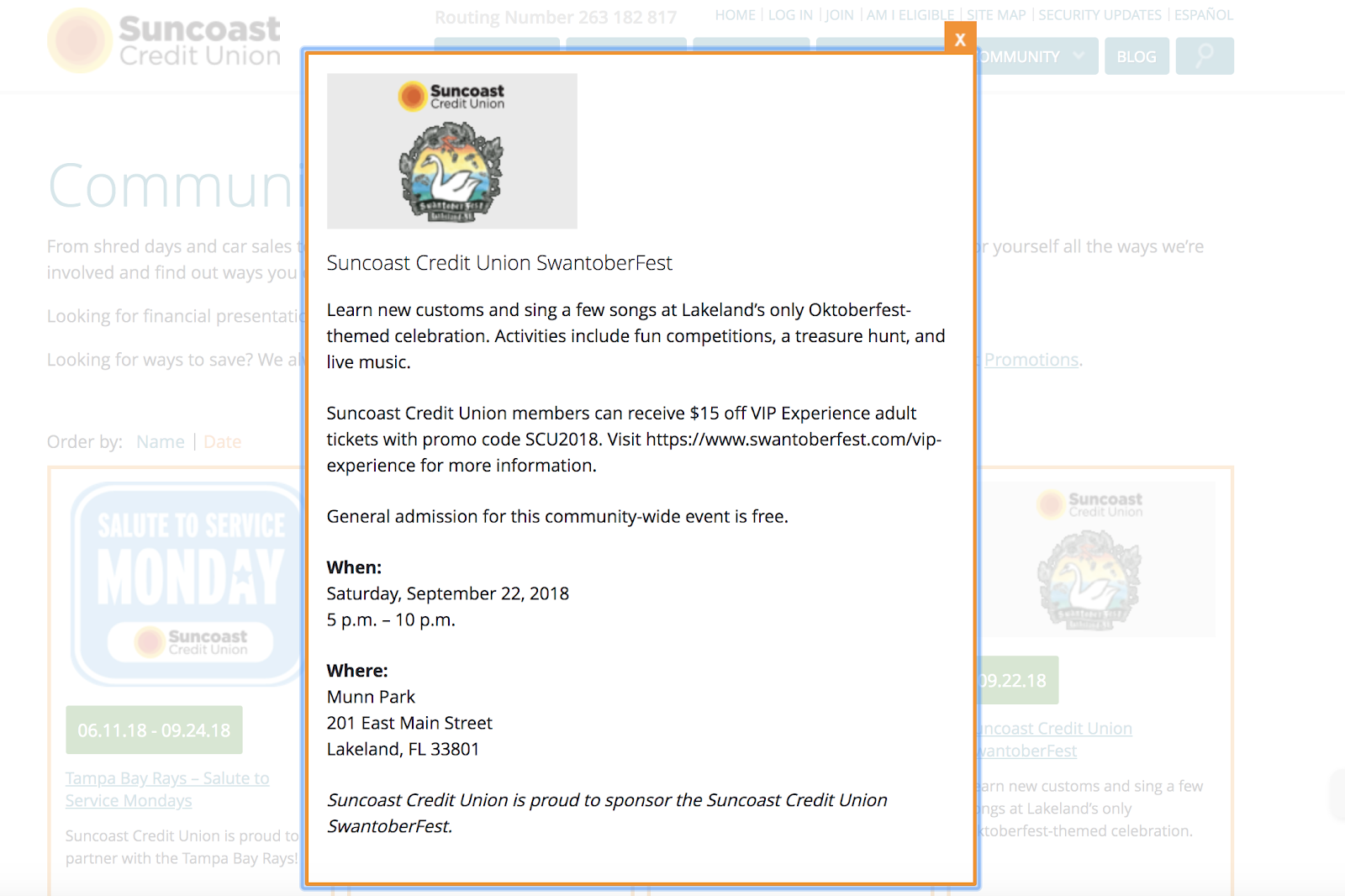 Suncoast Credit Union Local Event Partnership