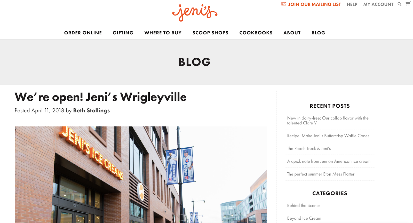 Jeni's Splendid Ice Cream New Location