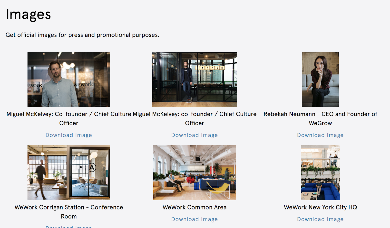 WeWork Press Page