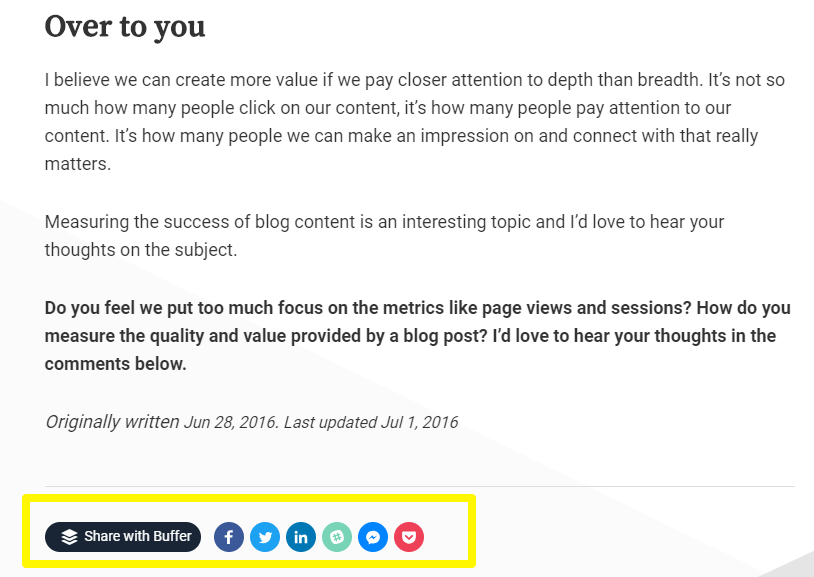 social sharing buttons with call to action