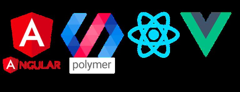 Angular, Polymer, React and Vue JavaScript framework logos