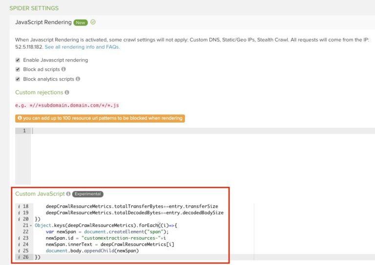 DeepCrawl Custom JavaScript screenshot