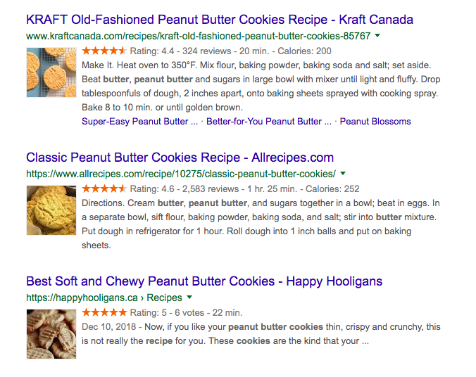 Rich snippets in Google search results