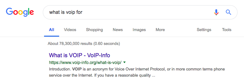 Top organic result in Google