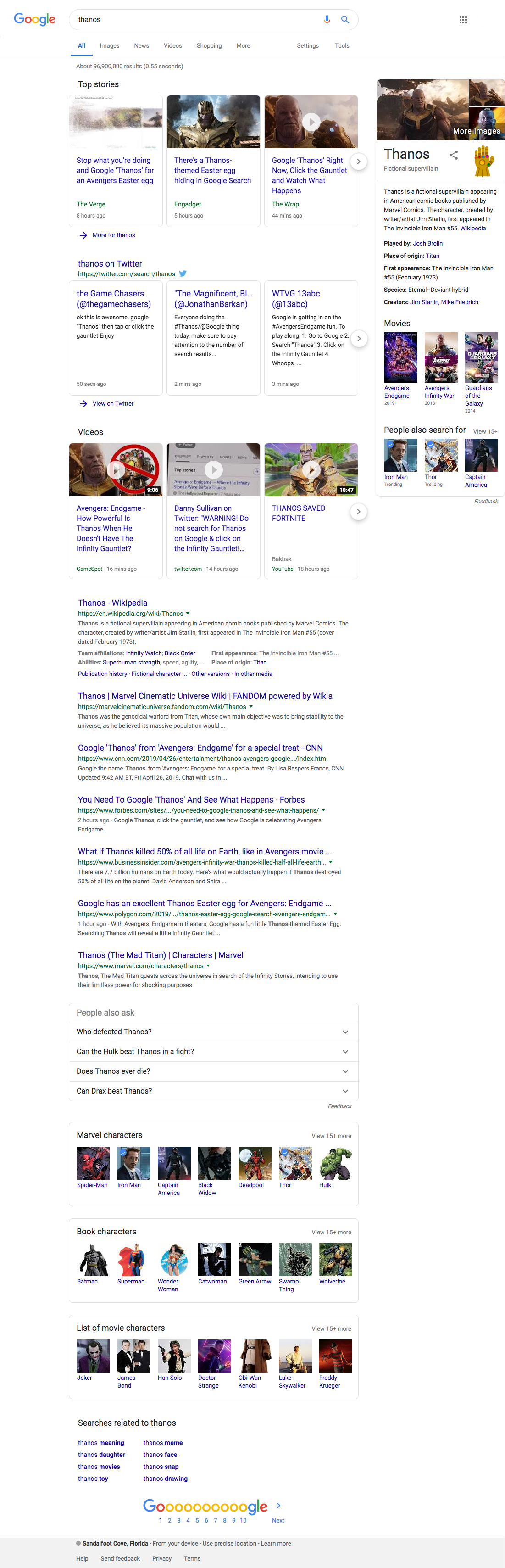 Full Google Thanos Google search results